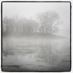 Morning fog and ice on lake. Instagram treatment. (c) 2104 J.S. Reinitz